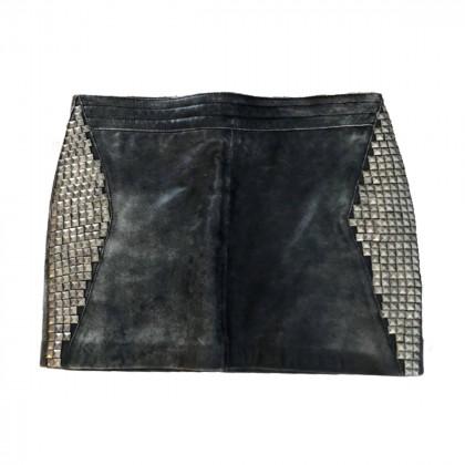 American Retro grey leather studded mini skirt size IT 36