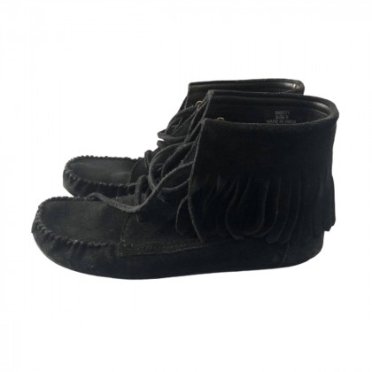 Black suede fringed ankle boots size 38