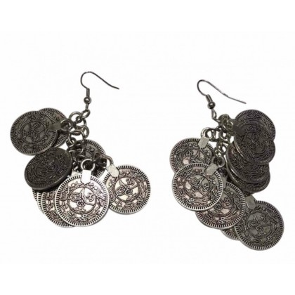 Silver coin style drop earrings