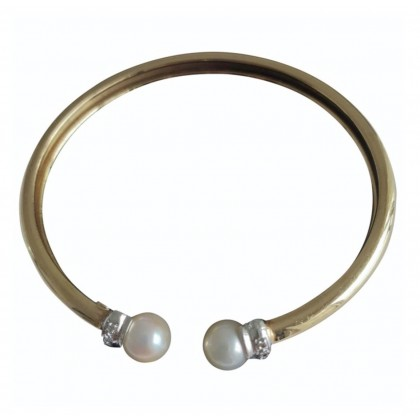 Yellow Gold Handmade Cuff style Bracelet 18K with real pearls and brilliants