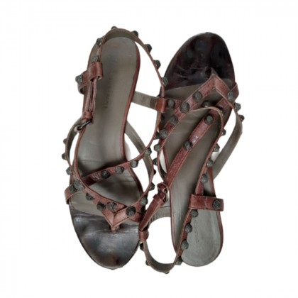 BALENCIAGA brown leather studded sandals size IT 38