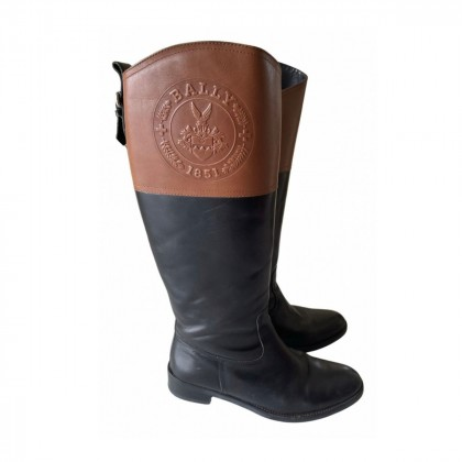 BALLY black/brown leather riding boots size IT36