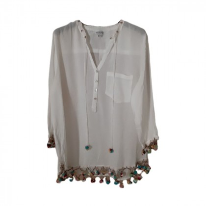 Linen sheer tunic with multicolor pom-poms size M