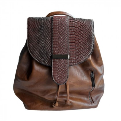 Brown eco leather and croc effect leather details backpack brand new