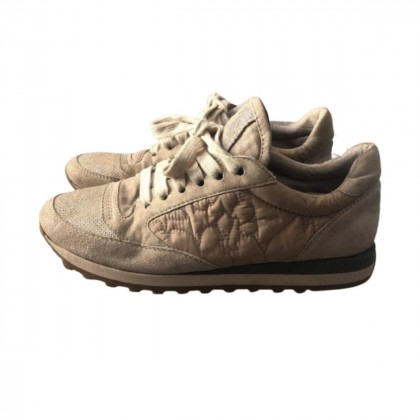 Brunello Cucinelli beige suede and canvas sneakers size IT 38-38.5
