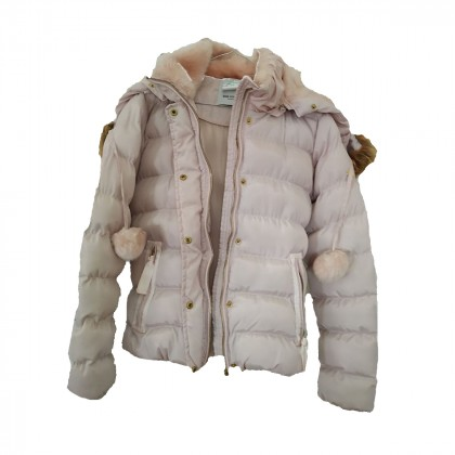 BSB collection dusty pink puffer with pom poms
