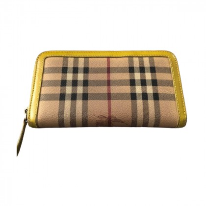 BURBERRY check coated canvas and leather wallet