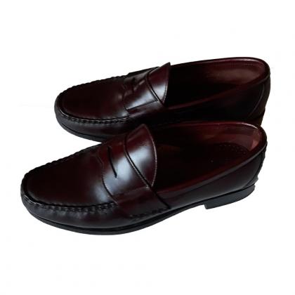 ALLEN EDMONDS men's loafers US 8 in burgundy leather