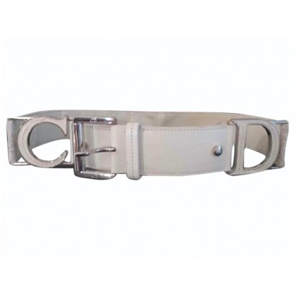 Christian Dior white leather logo print belt