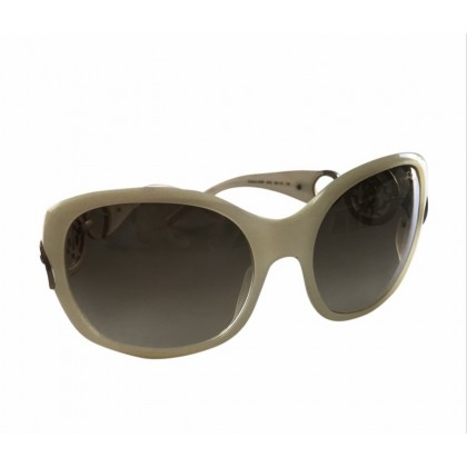 Roberto Cavalli oversized ecru farme sunglasses with gold tone metal parts