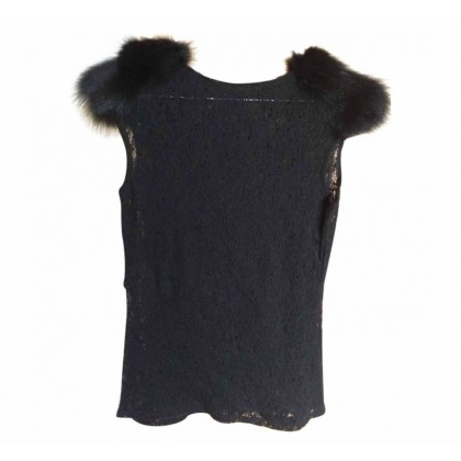 Kathy Heyndels knitted black top with fur details size 2