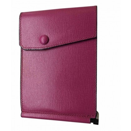 Valextra wallet unisex model in dark fuschia leather