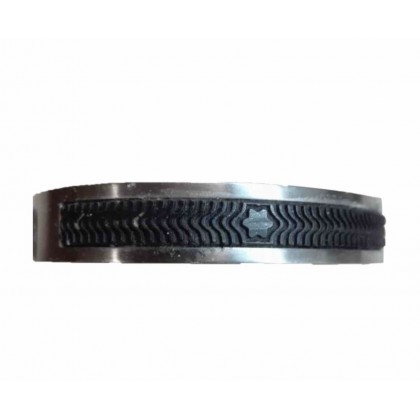 MONTBLANC steel cuff with black rubber detail