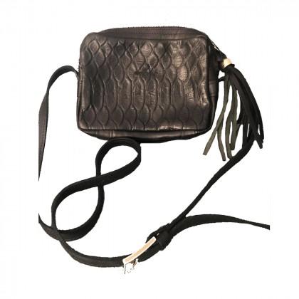 Cache black leather crossbody bag