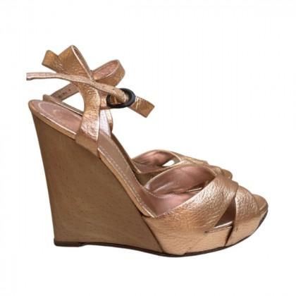 Casadei pink gold leather wedges size IT37