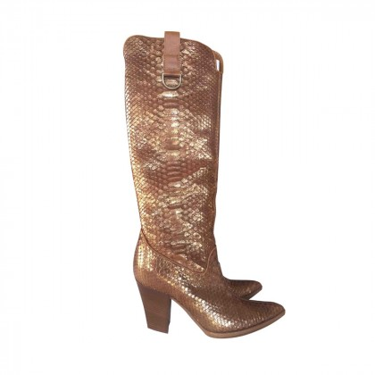 CASADEI snake print leather western boots size IT37 1/2
