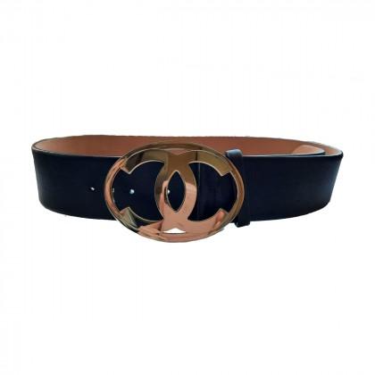 Chanel black leather CC logo buckle wide Belt 80 CM