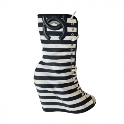 Chanel Black and  White Canvas Striped Peep Toe Wedge Ankle Booties size IT 38