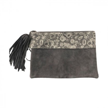 Large grey suede clutch bag brand new