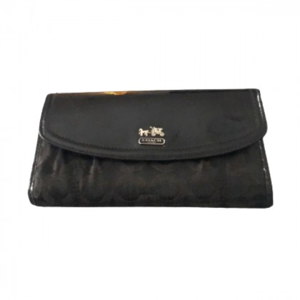 Coach black leather wallet with brown canvas logo print