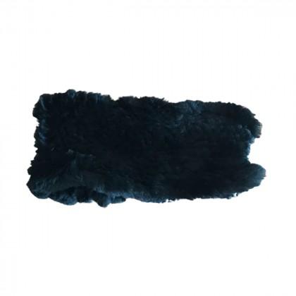 Black rabbit fur collar