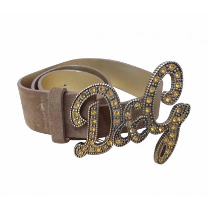 Dolce & Gabbana camel suede  leather belt with decorative Logo buckle