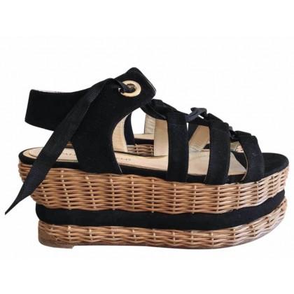 Paloma Barcelo black leather platforms size 39 like brand new