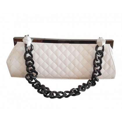 Philip Treacy white patent leather bag with plastic chain shoulder strap