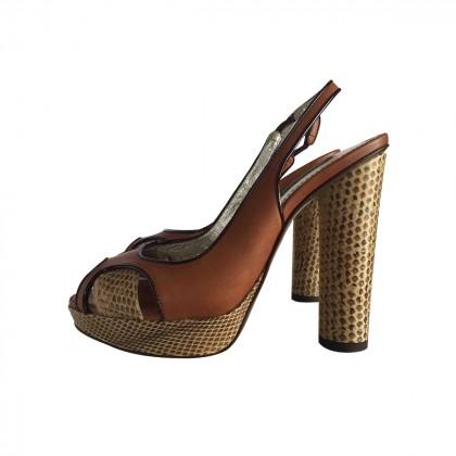 DOLCE & GABBANA camel leather platform sandals size IT37 BRAND NEW never worn