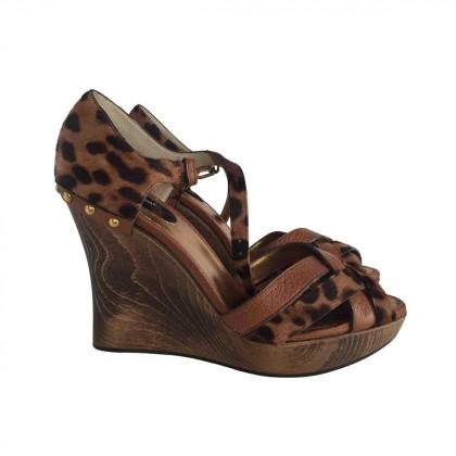 DOLCE & GABBANA animal print camel leather platform heels size IT37.5
