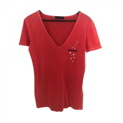 DSQUARED2 red cotton v-neck tshirt size L