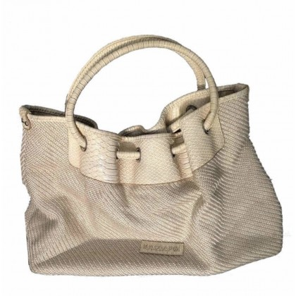 Krizia knitted fabric with leather details tote bag
