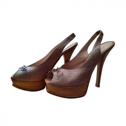 Fendi beige snakeskin leather platform singback sandals size IT 38.5