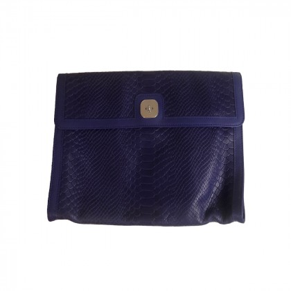 Longchamp Gatsby Exotic Python Embossed Purple Leather Clutch