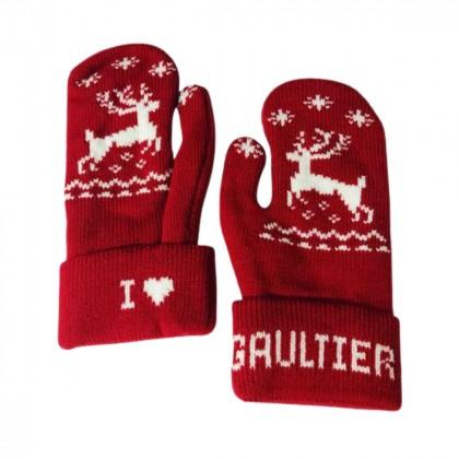 Jean Paul Gaultier red mittens onesize