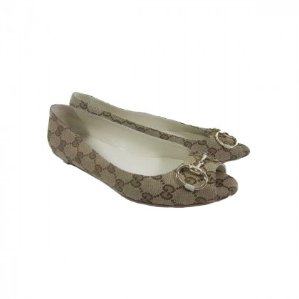 Gucci peep toe flat monogram size IT36.5