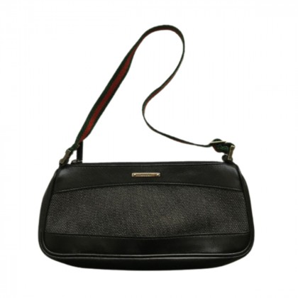 Gucci black leather and canvas bag