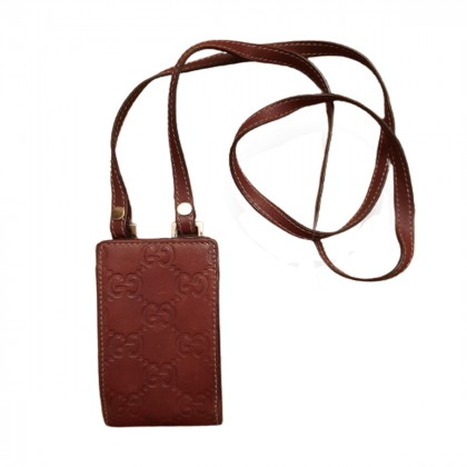 GUCCI guccissima burgundy leather case