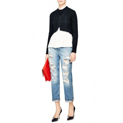 Thakoon Addition Navy Cable-knit sweater