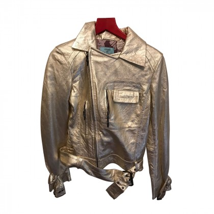 Guess Jacket in Metallic Gold Tone Leather
