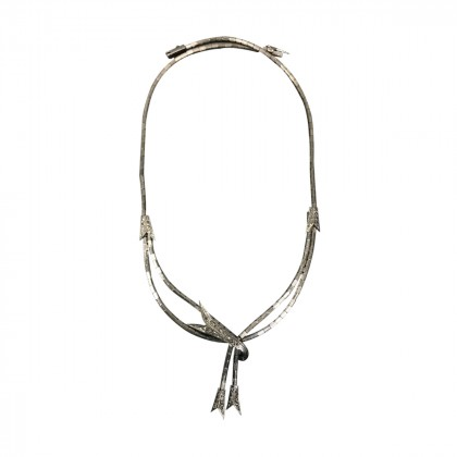 VINTAGE NECKLACE IN WHITE GOLD 18K MIXTED WITH OTHER METAL AND BRILLIANTS