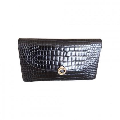 VINTAGE crocodile leather black clutch bag