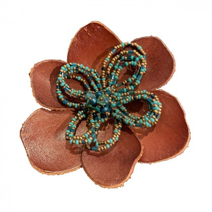 Katherine Cordero Miami Leather and turquoise beaded Brooch brand new