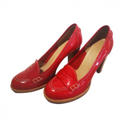 Red patent leather pumps size IT37