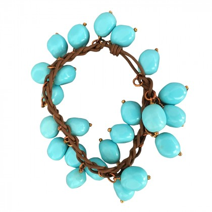Turquoise bracelet with leather and rose gold 14k
