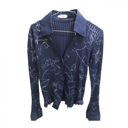 NARA CAMICE BLUE SHIRT WITH WHITE PATTERN