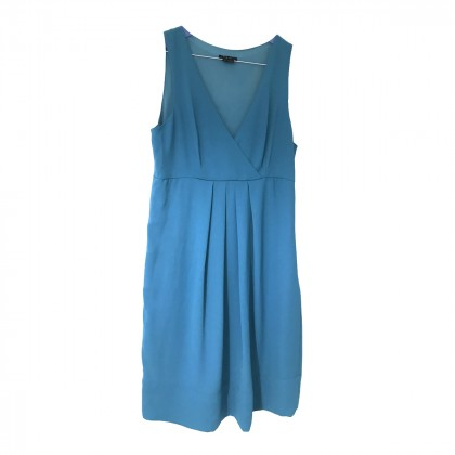 THEORY BLUE SILK DRESS KNEE LENGTH US 6