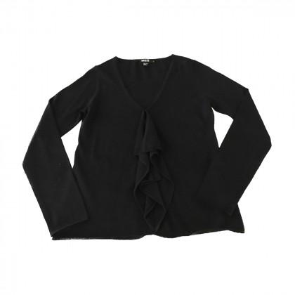 DKNY ruffled front black top