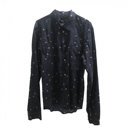 MARC by MARC JACOBS BLUE BLACK  SHIRT WITH ROSE FLOWERS PRINT