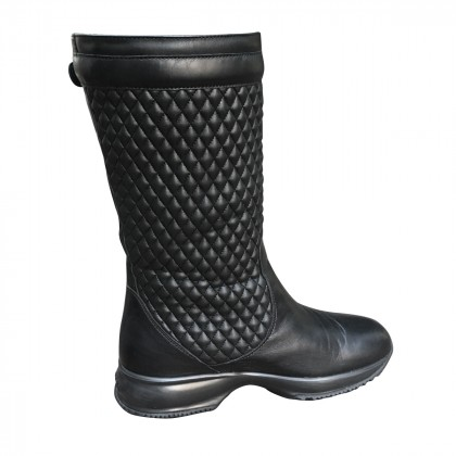 Hogan Black Leather Boots